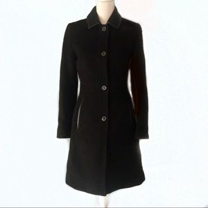 Gorgeous Coach Leather Trim Wool & Mohair Coat